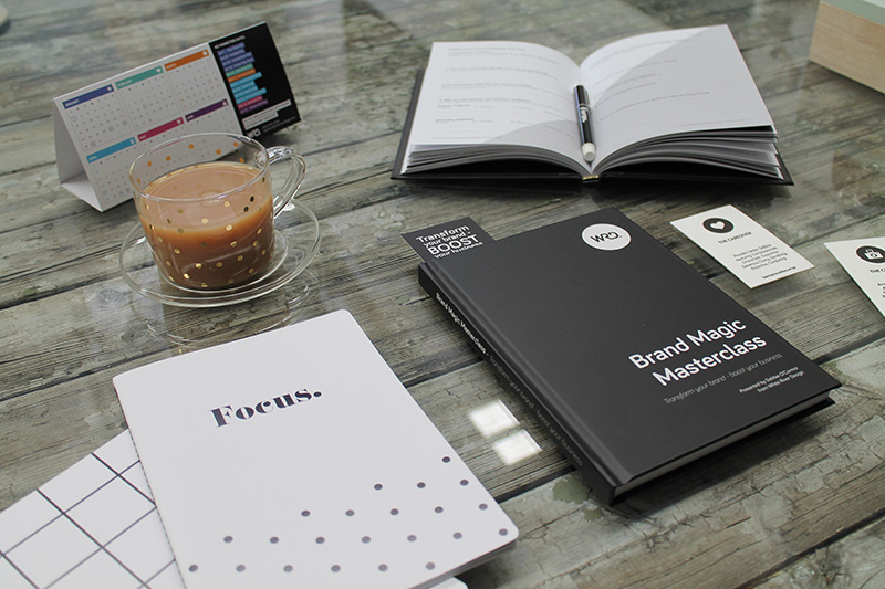 Brand Magic Workbook with over 18 branding worksheets to develop a brand strategy